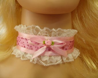 Any Size Sissy Choker Glittery Pink Satin White Lace CD Victorian Romantic Playtime Cosplay