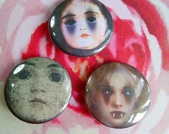 Creepy Doll Badges - Doll Faces -  Horror Pins -  Gothic Badges - Gothic Gifts - Horror Badges - Doll Badges - Under a Fiver - Creepy Cute