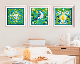 Kitchen decor Wall art set of 3 prints, Tile art prints, ornamental square tile wall art, set of three, blue green summer decor, 8x8, 10x10