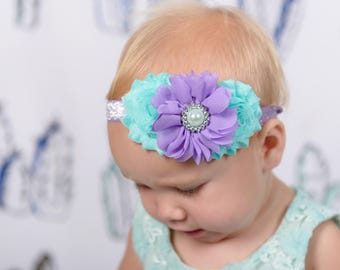 Lavender and Aqua Baby Headband, Infant Headband, Newborn Headband, Baby Headband, Easter Headband, Pastel Headband, Purple and Aqua