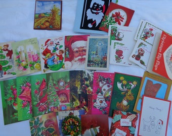 Vintage Christmas Card Lot for Crafting with Santa Envelopes 20 Plus