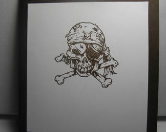 Pirate Skeleton Head (hand-stamped) 8-Card Box