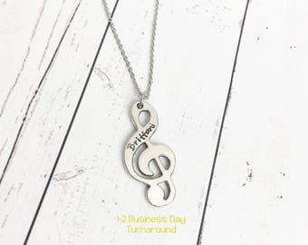 Treble Clef Name Necklace - Music Necklace - Musician Necklace - Gift for Musician - Musician Gift - Treble Clef Jewelry - Hand Stamped Name