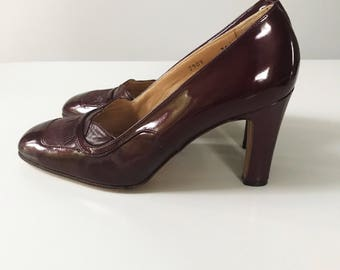 Vintage 1960s Dark Red Renata Patent Leather Heel Shoes, Size 36