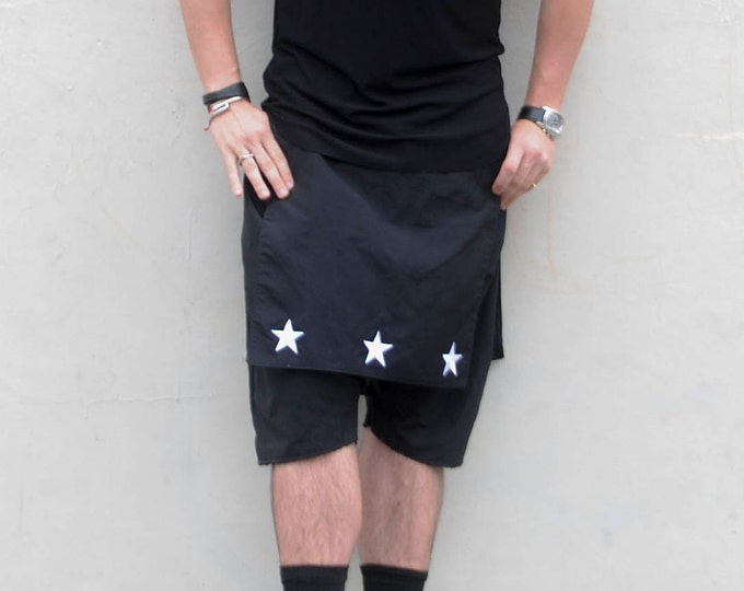 Harem Dropped Crotch Waterproof Material Woven Shorts With Front and Back Overlay Skirt and Kilt look with stars