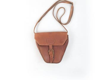 Vintage Small Leather Crossbody Bag -  Essential 80s 90s Structured Brown Leather Purse- Hippie Festival Bag with Gold Buckle