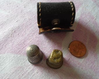 Vintage Small Black Leather Thimble Case & Two Vintage Thimbles, Size 7 and 9, Mid Century Vintage Sewing Supplies