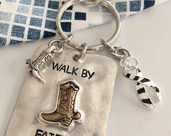 Zebra Ribbon Keychain / Cowboy Boot Encouragement Charm Carcinoid Neuroendocrine Tumor / Endocrine Cancer / Rare Disease Awareness Gift