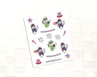 Patriotic Tiggero Decorative Planner Stickers, July 4th, Uncle Sam, Statue of Liberty