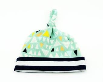 Baby Top Knot Hat (Aqua Triangles/Medium Navy Stripe) ||| baby shower gift, newborn hat, newborn take home outfit, baby jersey hat
