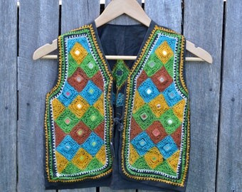 Older child's hippie Indian vest vintage 70's 1970's flower child embroidered mirrored bohemian waist coat boys girls hand made