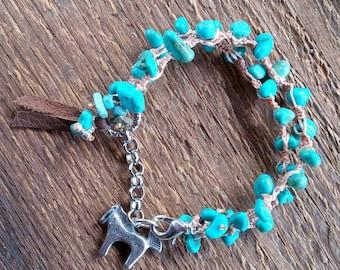 Turquoise Bracelet, Wrap Bracelet, Horse Bracelet, Macrame Bracelet, Bohemian Jewelry, Charm Bracelet, Southwest Jewelry, Cowgirl Bracelet