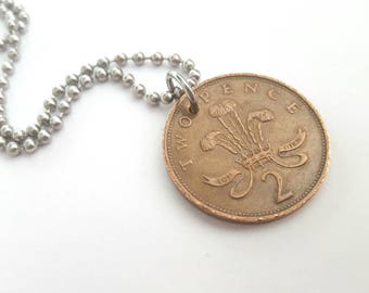1986 Two Pence Coin Necklace  - Stainless Steel Ball Chain or Key-chain