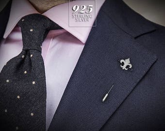 Fleur de lis Lapel Pin - Valentines gift for him - Grooms boutonniere - Sterling Silver tie pin - Wedding Tie Tack