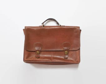 Vintage 80s COACH BRIEFCASE / 1980s Saddle Tan Leather Laptop Attache Bag Made in New York City