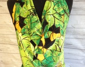 Green and Black Leaf Print Draped Halter Top ***CLEARANCE!**