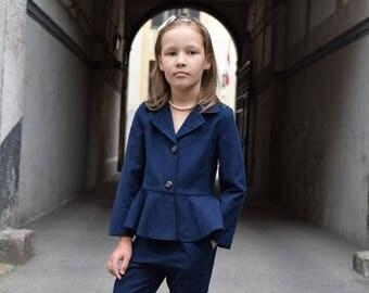 Girls blazer Toddler girls jacket Navy blazer Velvet jacket Ruffle jacket Back to school Girls clothing Toddler girl clothes Wedding party