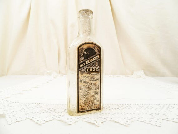 """Antique French Cough Syrup """"Sirop des Vosges Cazé"""" Glass Bottle with Original Paper Label, Apothecary Collecting, Belle Epoque France"""