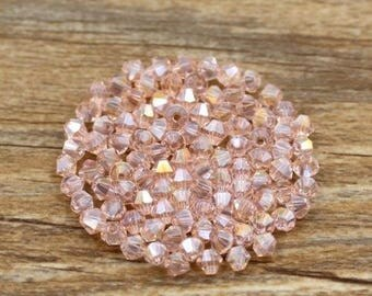 4mm (100) Pink AB Bicones Glass Crystals Pink Crystal Beads Loose Beads Faceted Crystals for Jewelry Making