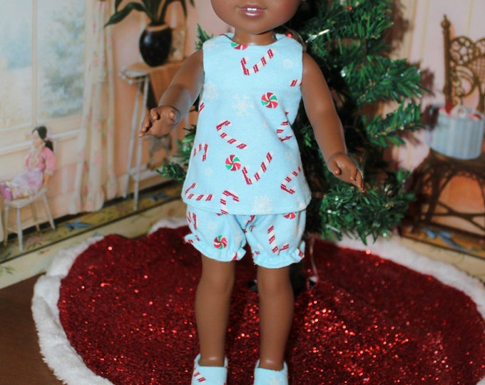 Candy Cane Print Pajama's, Tonic and Bloomers, Slippers, Handmade to fit the wellie wisher  Heart to Heart and other 14 5 doll Free Shipping