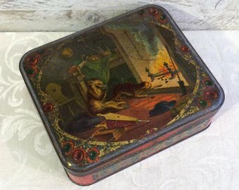 Spooky Halloween Decor Unusual Antique French ? Tin Box, Monkey at Fireplace Cat, La Fontaine ? Vintage Candy Biscuit Tin Art Nouveau