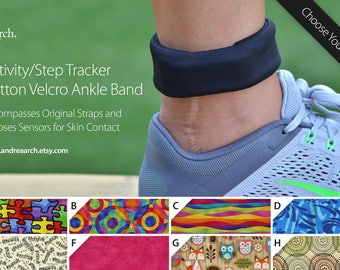 Graphic Print Activity/Step Tracker 100% Cotton Velcro Ankle Band – Encompasses Original Straps and Exposes Sensors for Skin Contact