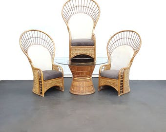 5 Pc Bamboo Peacock Chair / Fan Chair / Patio Table / Dining Set / Bamboo