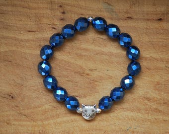 Br-31 - Cat-bracelet blue faceted Czech fire polished glass beads silver cat bead