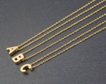 Dainty Gold Initial Necklace, Personalised Tiny Gold Letter Necklace, Monogram Necklace, Delicate Fine Chain