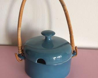 Mid Century Modern Freeman Lederman Blue Rattan Sugar Bowl