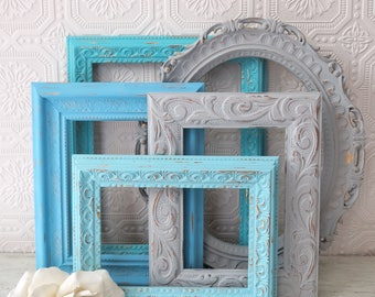Open Picture Frame Set Of 5 Blue Wall Frames Beach Wall Decor