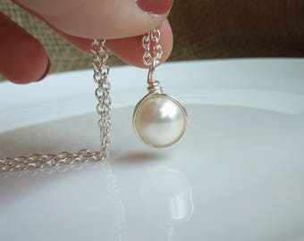 White Pearl Necklace - Classic Pearl Pendant - Wedding Bridesmaids Jewelry Matching Earrings