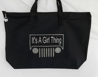 Rhinestone, It's A Girl Thing, Tote Bag, It Comes With A Removable Zipper Pull Charm, You Can Customize The Saying, Rubicon, Wrangler