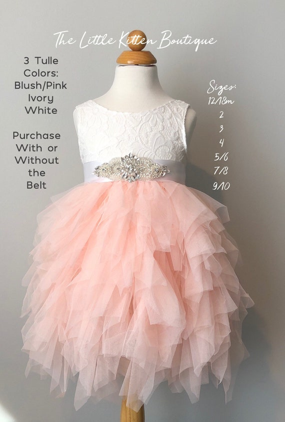Pink Flower Girl Dress, Ivory Flower Girl Dress, Blush Flower Girl Dress, Lace Flower Girl Dress, Tulle Flower Girl Dress Bridesmaids Dress