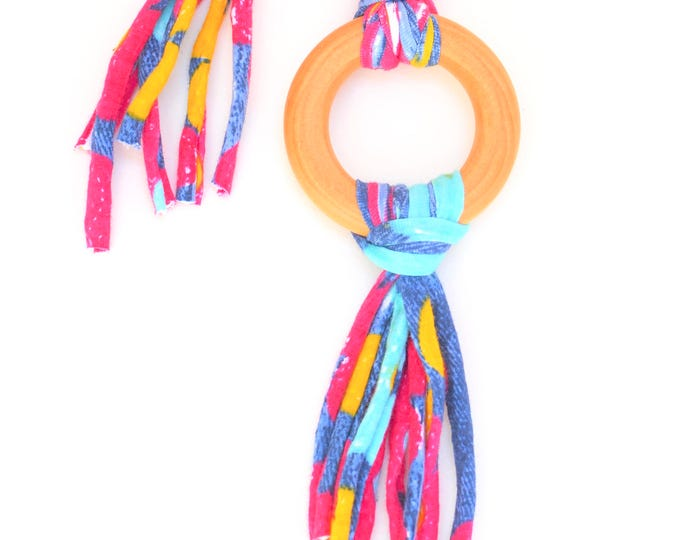 Colorful Tug & Pull Teething Tassel Necklace | Colorful Teething Necklace | Summer Tassel Necklace