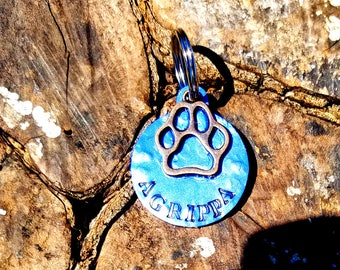 Personalized Hammered Aluminum Paw Print Dog ID Tag Choose Your Colors Custom Hand Stamped Aluminum Paw Print Dog Tag Cute Paw Print Dog Tag