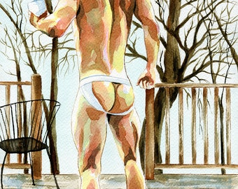 "PRINT Original Art Work Watercolor Painting Gay Male Nude ""House in the woods"""