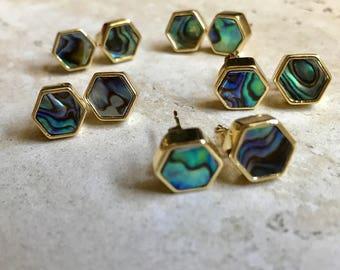 Abalone Stud Earrings Gold,Ablalone Earrings Gold,Hexagon Studs Gold,Abalone Shell Studs,Abalone Post Earrings,Abalone Jewelry,Shell Studs