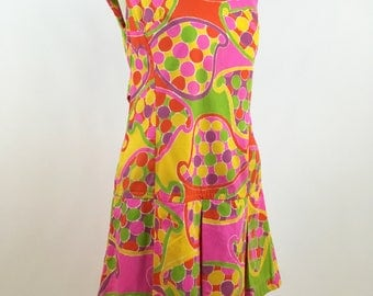 1960s Mod Scooter Dress - Mod Psychedelic Scooter Dress - Fluorescent Pink  Orange Yellow Green Purple - Vintage Mod 1960s Scooter Dress