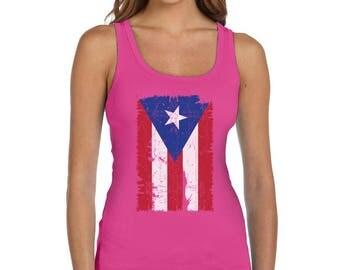 Vintage Distressed Puerto Rico Flag Women Tank Top