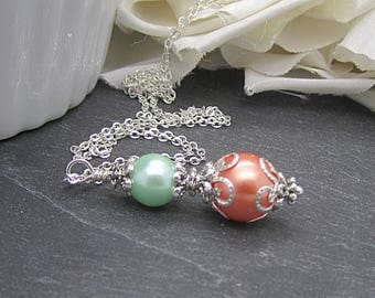 Coral Mint Pearl  Necklace, Peach Mint Bridesmaid Jewellery, Mint Wedding, Bridesmaid Gifts, Pearl Drop Jewellery