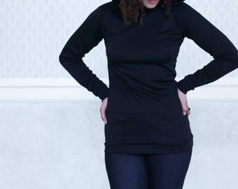 Amelia - womens sweatshirt, black lace hoodie, womens hoodie, long sleeve, shabby chic, size S
