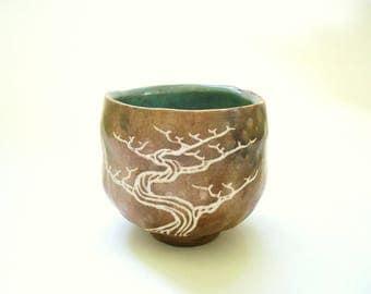 Stoneware Tree Tea Bowl Matcha Chawan