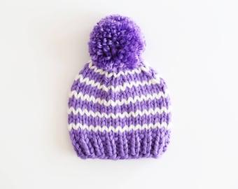 Baby Pom Pom Beanie, Pom Pom Hat, Baby Hat, Lavender and White baby Hat, Pompom hat, Striped Baby Hat, Ready to Ship