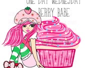 One Day Wednesday Dollie || Berry Babe || hernameisSavvy || Digital Download || Cupcake Valentines Day  || Fashion Illustration