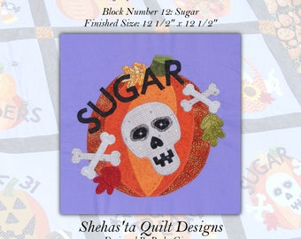 Pumpkin Patch Applique Quilt Pattern PDF block Download, Autumn quilt pattern, Block 12 Sugar, Sugar Skull Fall quilt pattern, cross bones