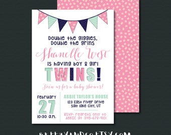 Baby Shower Invitation | DOUBLE TROUBLE | Boy and Girl Twins