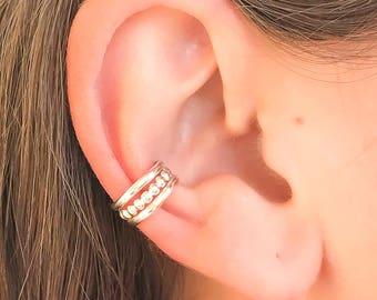 Silver Ear Cuff, Non Pierce 925 Sterling Silver Ear Cuff, Bead wire Cuff