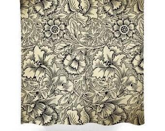 Black & Beige Flower Shower Curtain