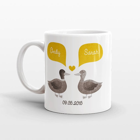 DUCK Mug Personalized Valentines Day Gift for Him for Her Animal Couple Mug Engagement Mug Engagement Gift Unique Coffee Mug Coffee Cup